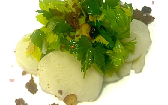 Ensalada de mozarella de búfala, granada y chips de ajo
