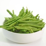 Green Beans in bowl with white background Picture shot in Studio.